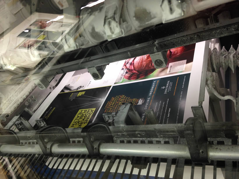 The magazine coming off the press.