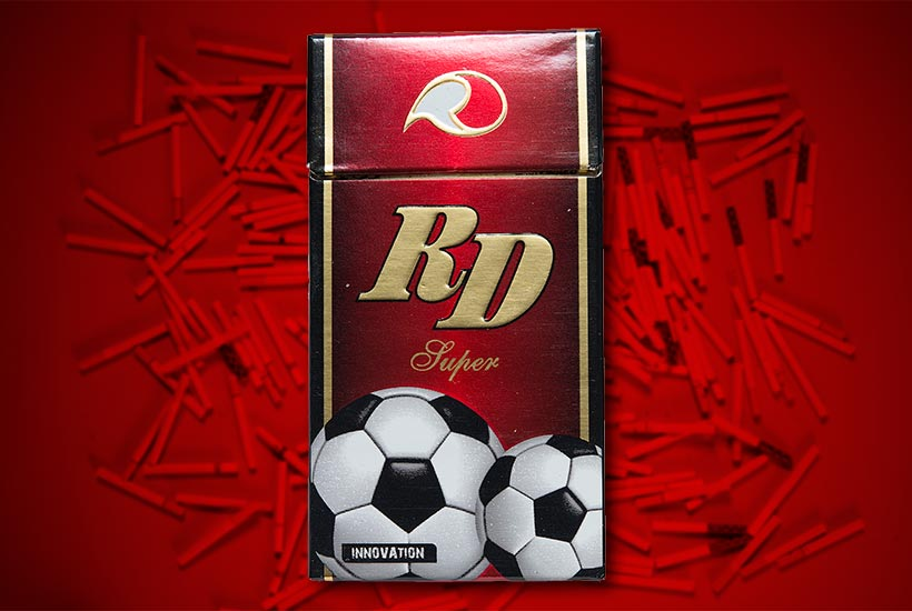 cigarette pack with soccer ball graphic