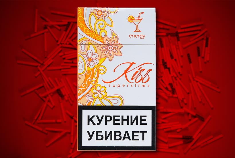 cigarette pack with floral pattern graphic