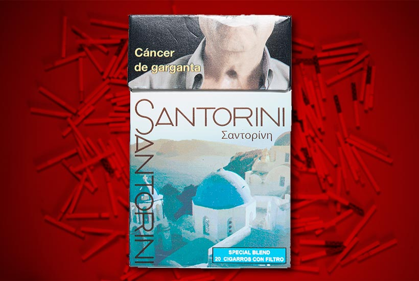 cigarette pack with rustic Italian town graphic
