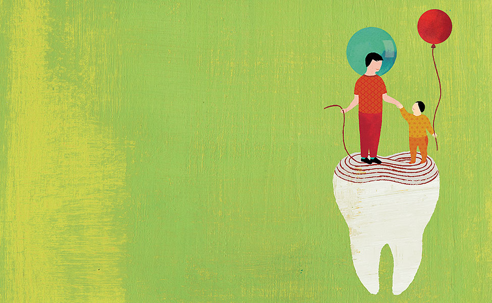 Artist's illustration of parent and child standing on a tooth.
