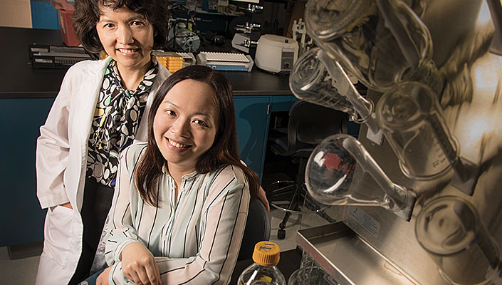 Xiaobin Wang (left) and Winnie Tang collaborate across departments to investigate how epigenetic changes happen—and how they're passed down.