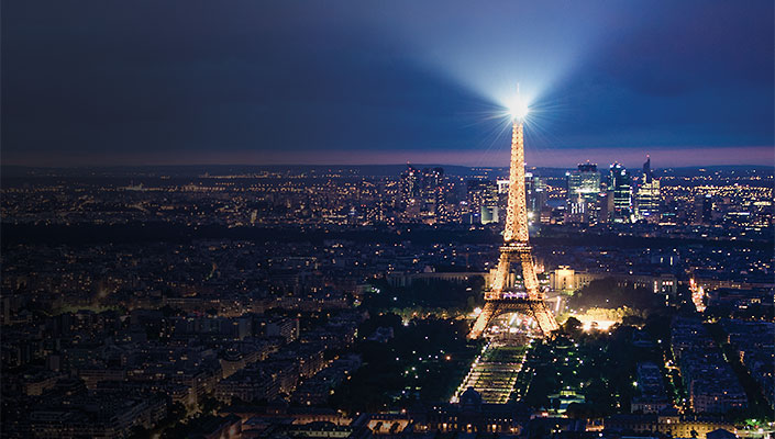 Paris skyline at night