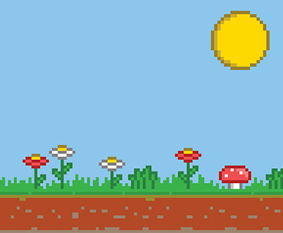 8-bit game styled illustration of the sun high over a field of flowers.