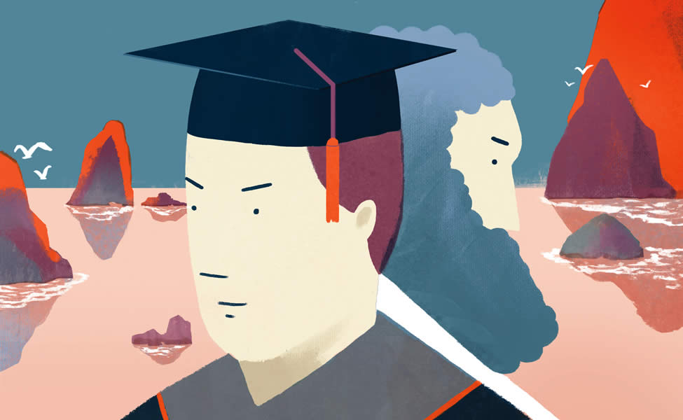 illustration of graduate and philosopher