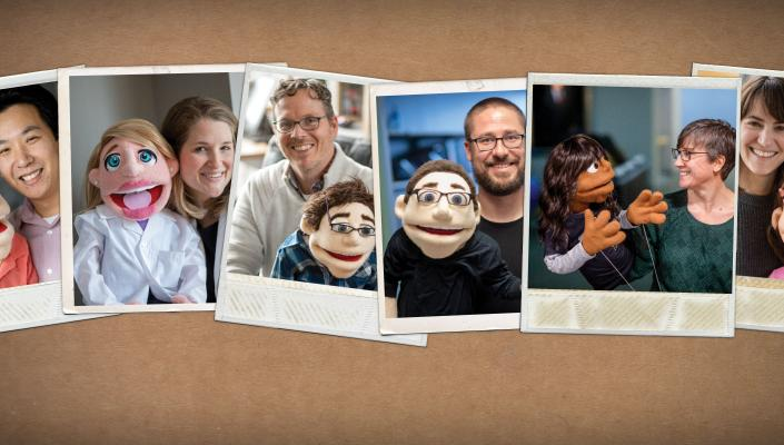 Collage of researchers and their felt dummies