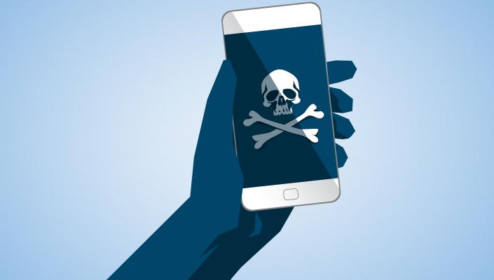 Illustration of smart phone with poison skull and cross bones symbol on screen