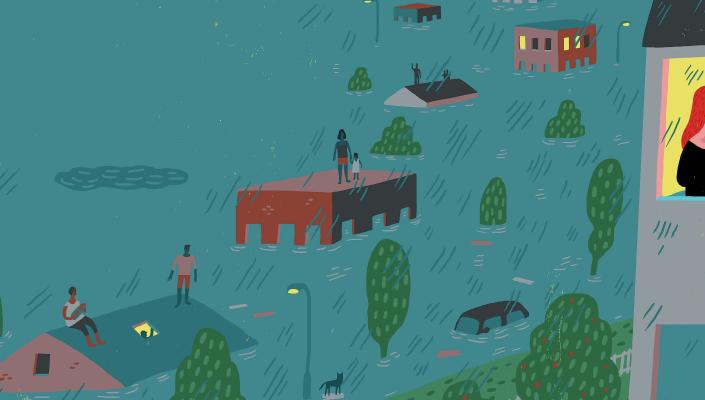 Illustration depicting impact of climate change on vulnerable populations