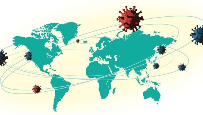 world map overlaid with coronavirus