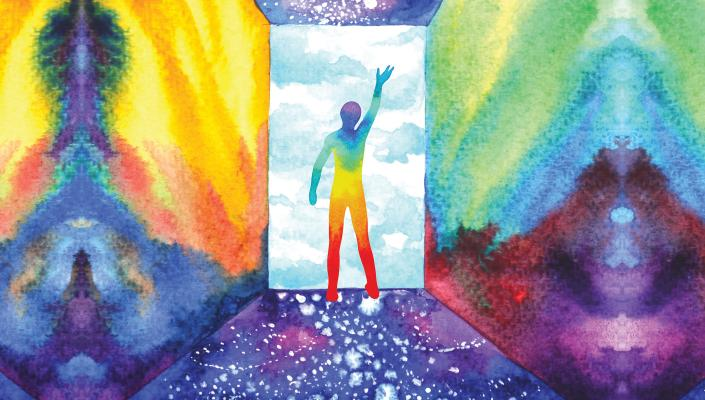 abstract image of person in multicolor doorway