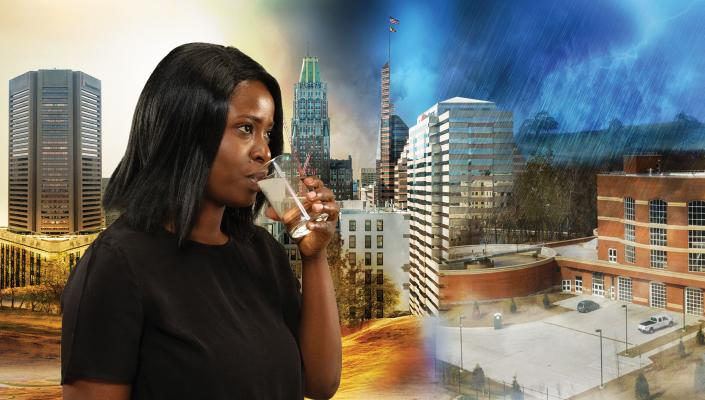 Woman drinking tap-water in front of rendered city-scape illustrating the effects of drought and deluges