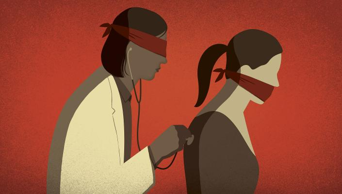Illustration of blindfolded female doctor examining a gagged female patient