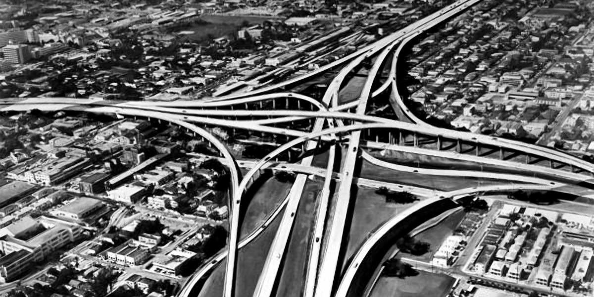 1960's arial photo of Miami Interstate exchange.