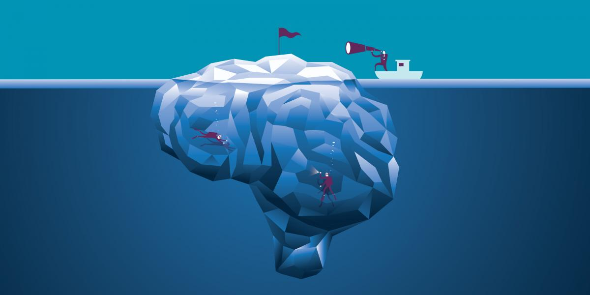 Illustration of scuba divers swimming around a giant brain