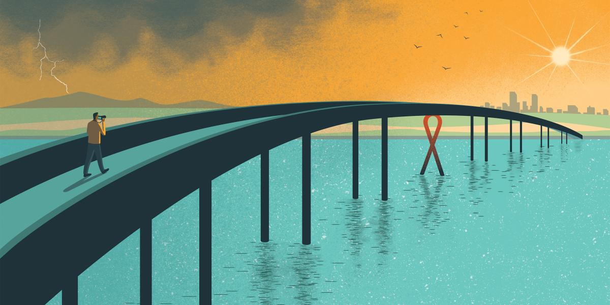 man walking over bridge graphic