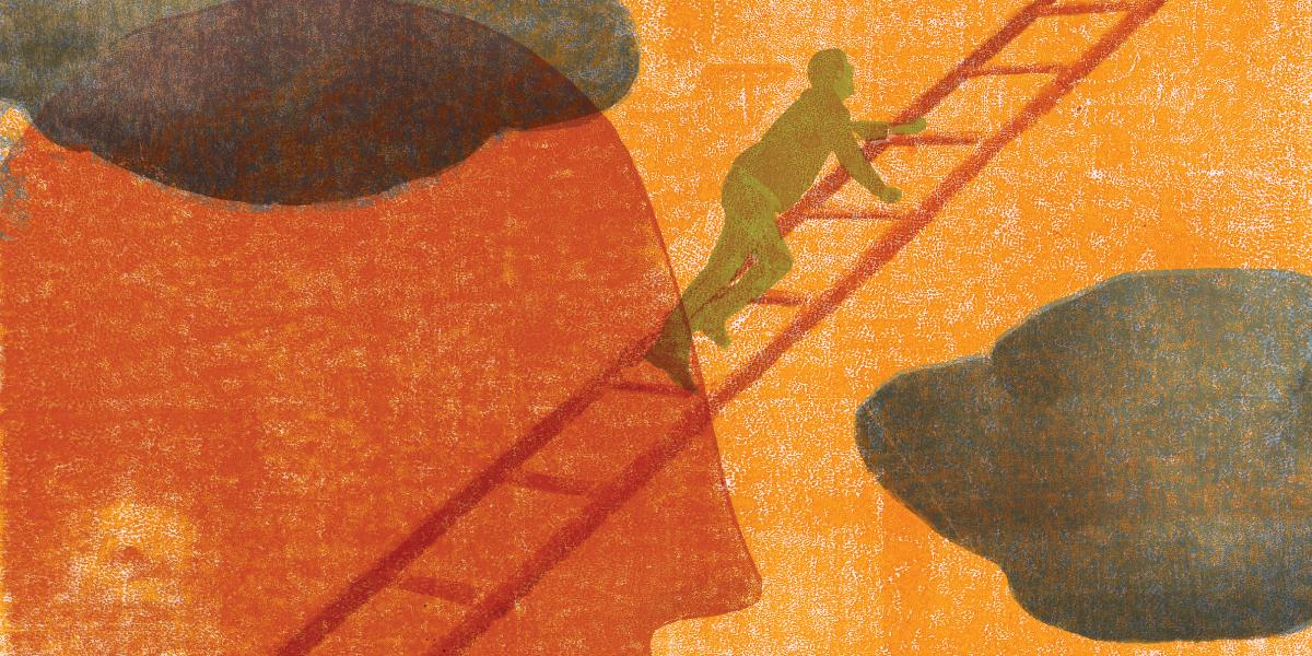 Abstract illustration of a figure climbing a ladder.