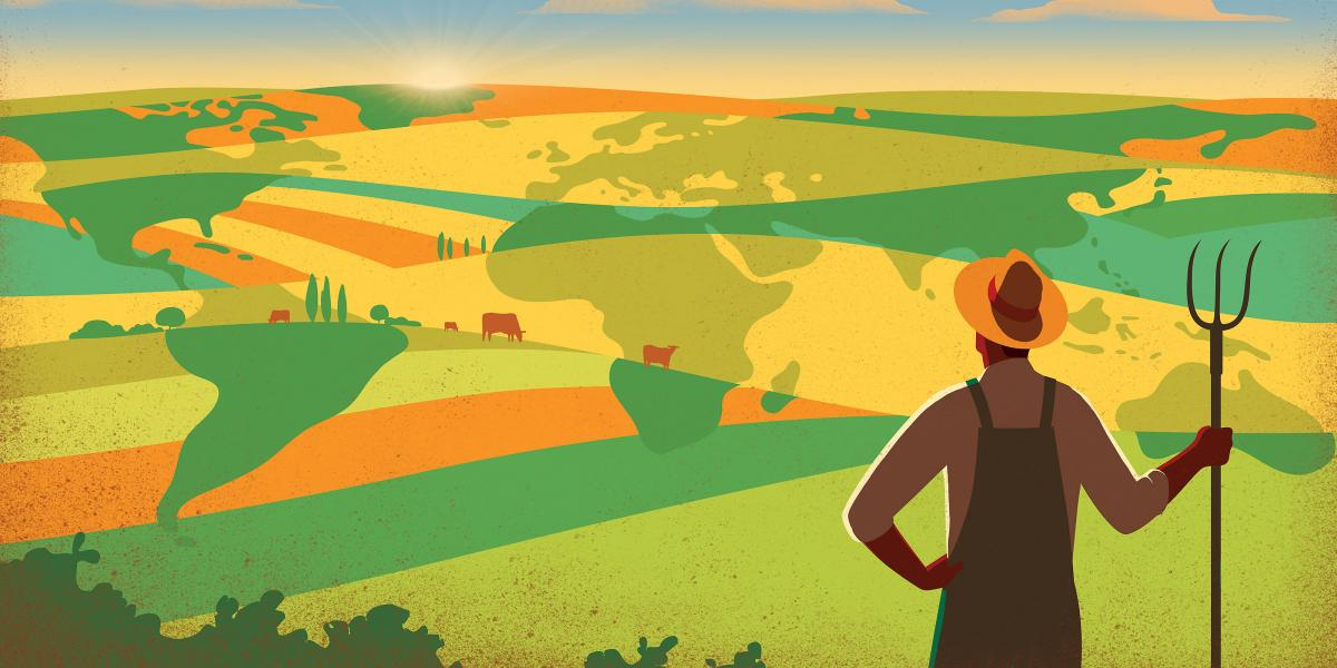 Illustrated image of farmer overlooking fields with world maps superimposed