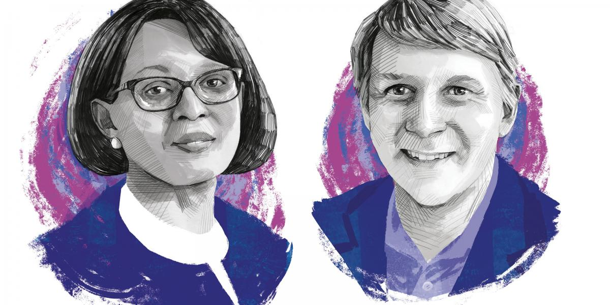Illustration of WHO's Matshidiso Moeti and IVAC director William Moss