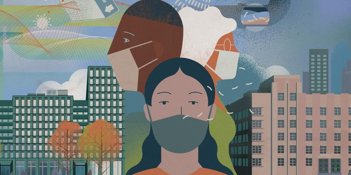 Three people wearing face masks overlaying a city scape.
