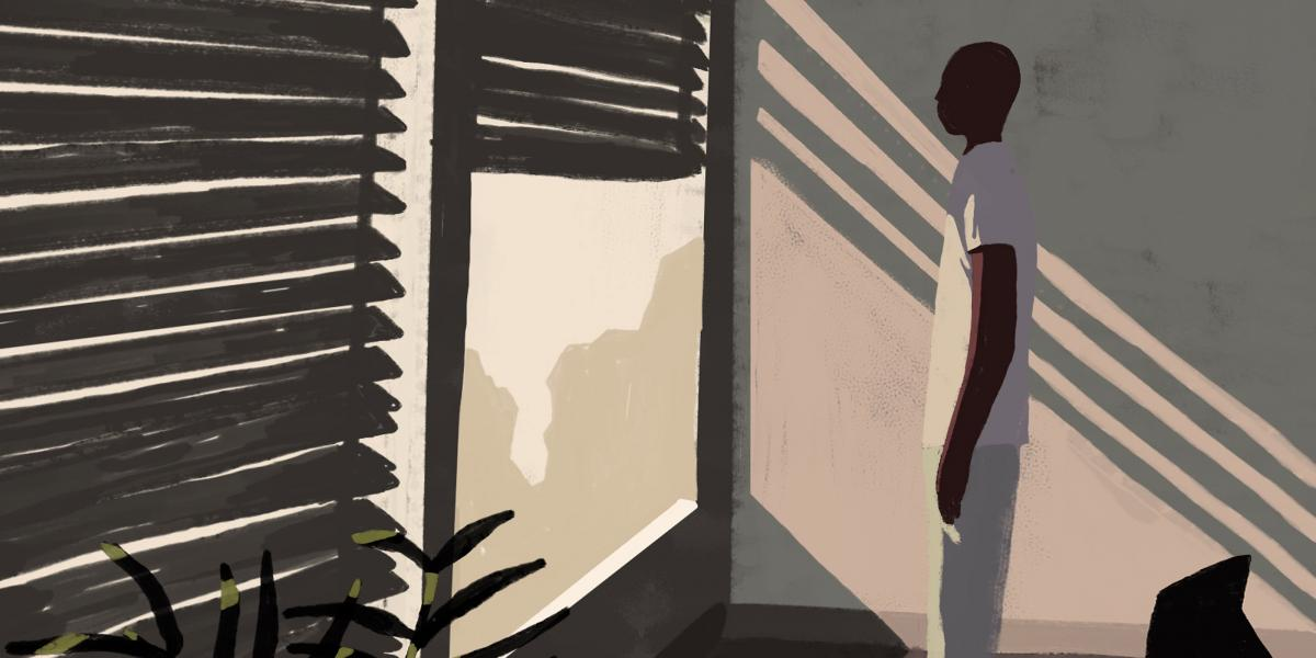 stylized illustration of black man staring out a window