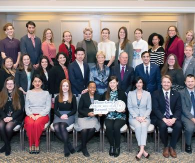 Image of BloombergFellows with Dean MacKenzie & President Daniels