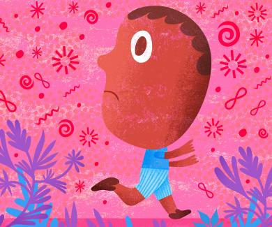 Illustration of young boy running from viruses and bacteria