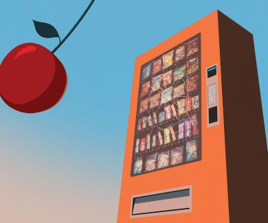 Cherry swinging in front of a vending machine