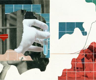 abstract image with gloved hand, test tube, and charts