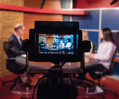 Image of public health students in television studio