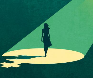 illustration: silhouette of women in bright spotlight